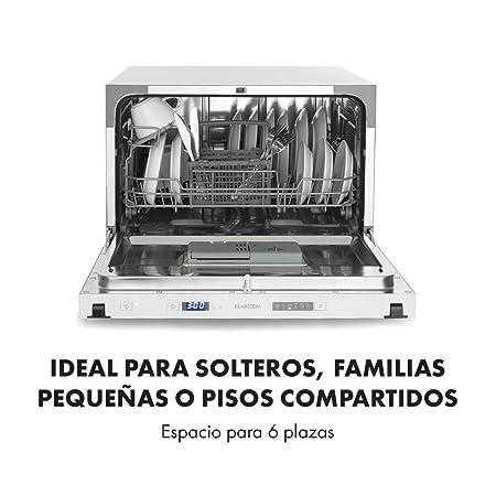 Klarstein Amazonia 6 Secret lavavajillas para montar - Máquina lavaplatos, Solo 174 kWh/Jahr, 6 Programas, Pantalla LED, Aquastop, Perfecto para ...