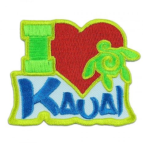 Amazon Com Hawaii I Love Kauai Iron On Embroidery Applique