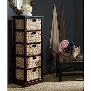 Safavieh American Homes Collection Vedette Cherry 5 Wicker Basket Storage Tower