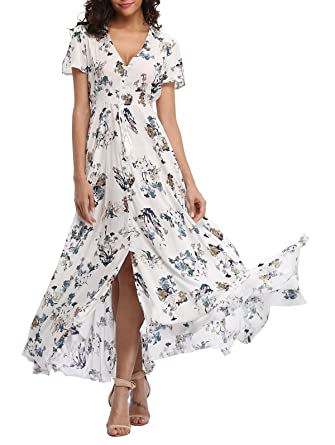 ever popular new high quality new specials VOGMATE Femme Robe Chic Longue Col V à Fleur Manches Courtes en Coton Robe  Maxi de Plage D'été Casual (S-2XL)