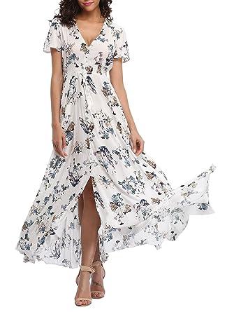 a2626414307f VOGMATE Femme Robe Chic Longue Col V à Fleur Manches Courtes en Coton Robe  Maxi de