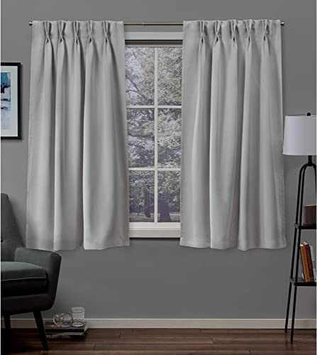 Exclusive Home Curtains Sateen Twill Woven Blackout Pinch Pleat Curtain Panel