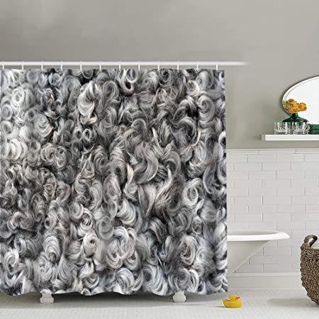 Gary Cortina de Ducha de algodón con Textura de Lana, decoración ...