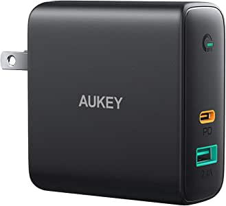 """AUKEY Focus 60W PD Charger,USB C Wall Charger with Dynamic Detect & PD 3.0 [GaN Tech] Fast USB C Charger for MacBook Pro 13"""", iPad Pro, iPhone 11 Pro Max, iPhone SE,Google Pixel 5, Airpods Pro"""