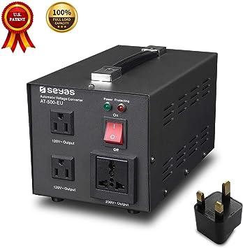 SEYAS - Transformador de tensión (500 W, 220 V a 110 V, con enchufe de EE. UUU.) Patente (500 W): Amazon.es: Electrónica
