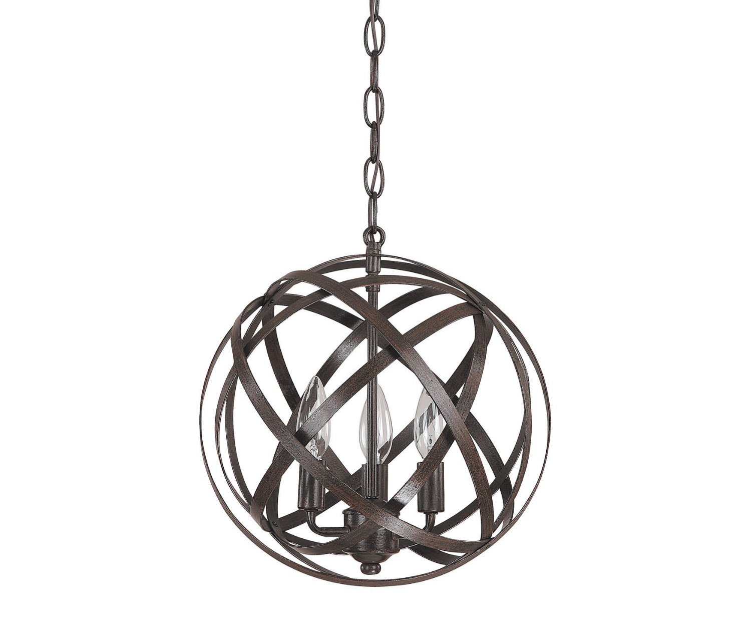 Top Lighting Sphere 3-Light Pendant Chandelier, Antique Bronze Finish