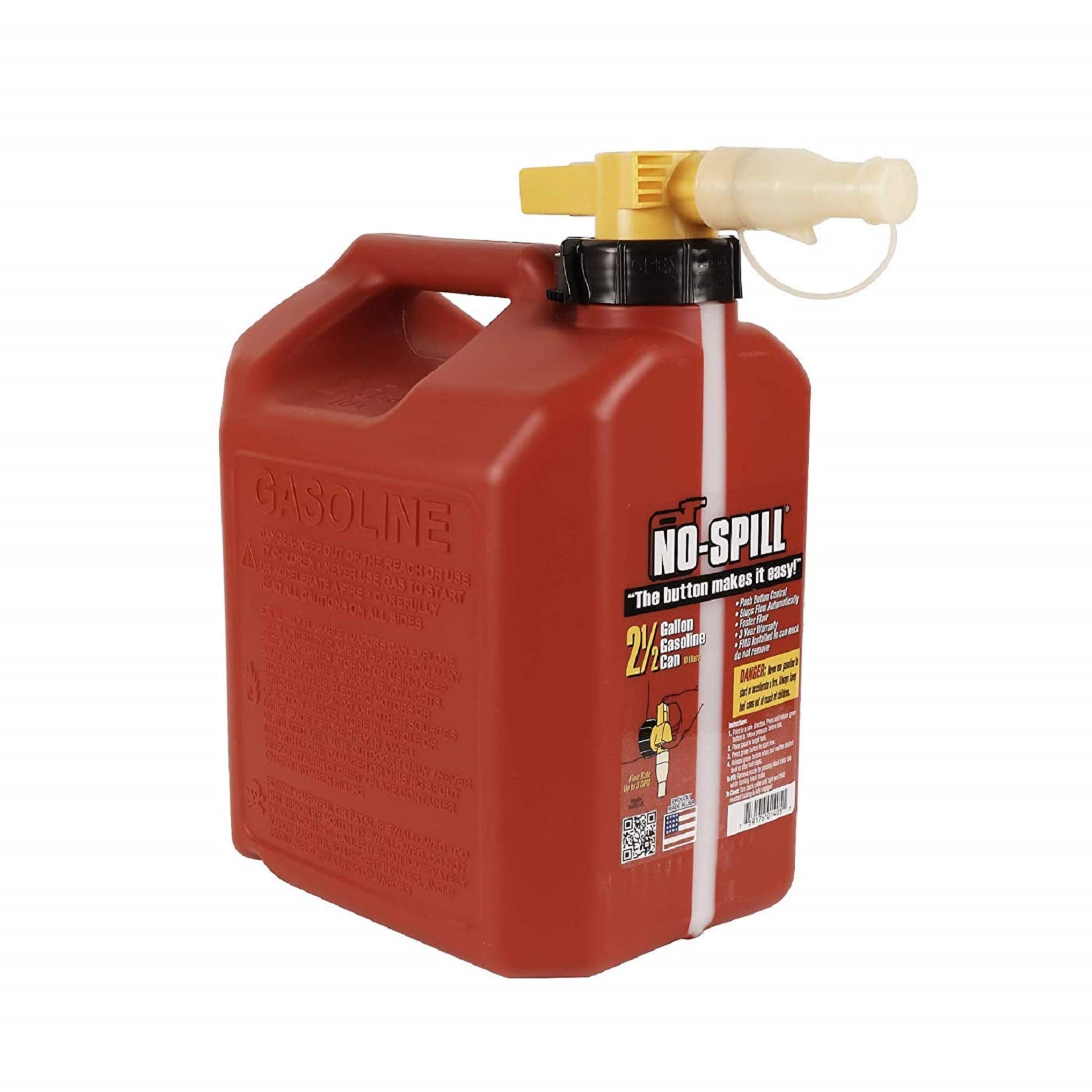 No-Spill 1405 2-1/2-Gallon Poly Gas Can (3 Pack(1-Unit))