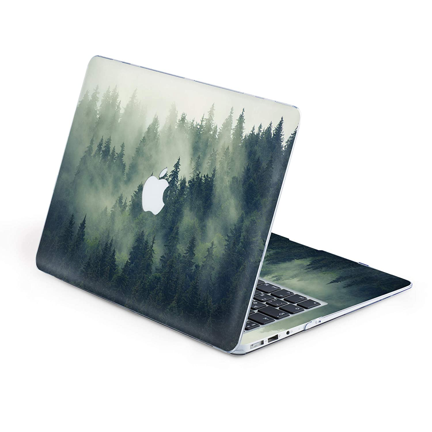 , Silent Foggy Forest Durable MacBook Case with Around Keyboard Vinyl Sticker Decal Nature Art Designed Protective Cover for MacBook Laptop Hard Case Air 13 A1369 /& A1466