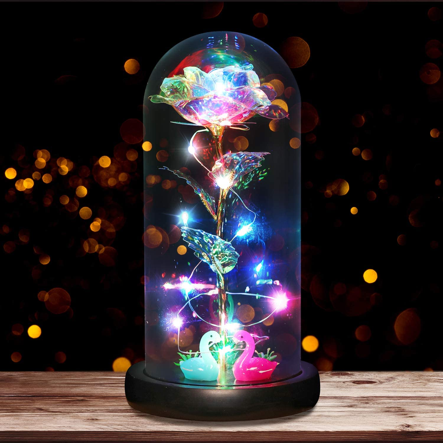 B2LOVER Galaxy Rose Beauty and The Beast Rose Flower Decoration with Flashlight in Glass Dome Gift Artificial Flower for Mom Birthday Anniversary Wedding