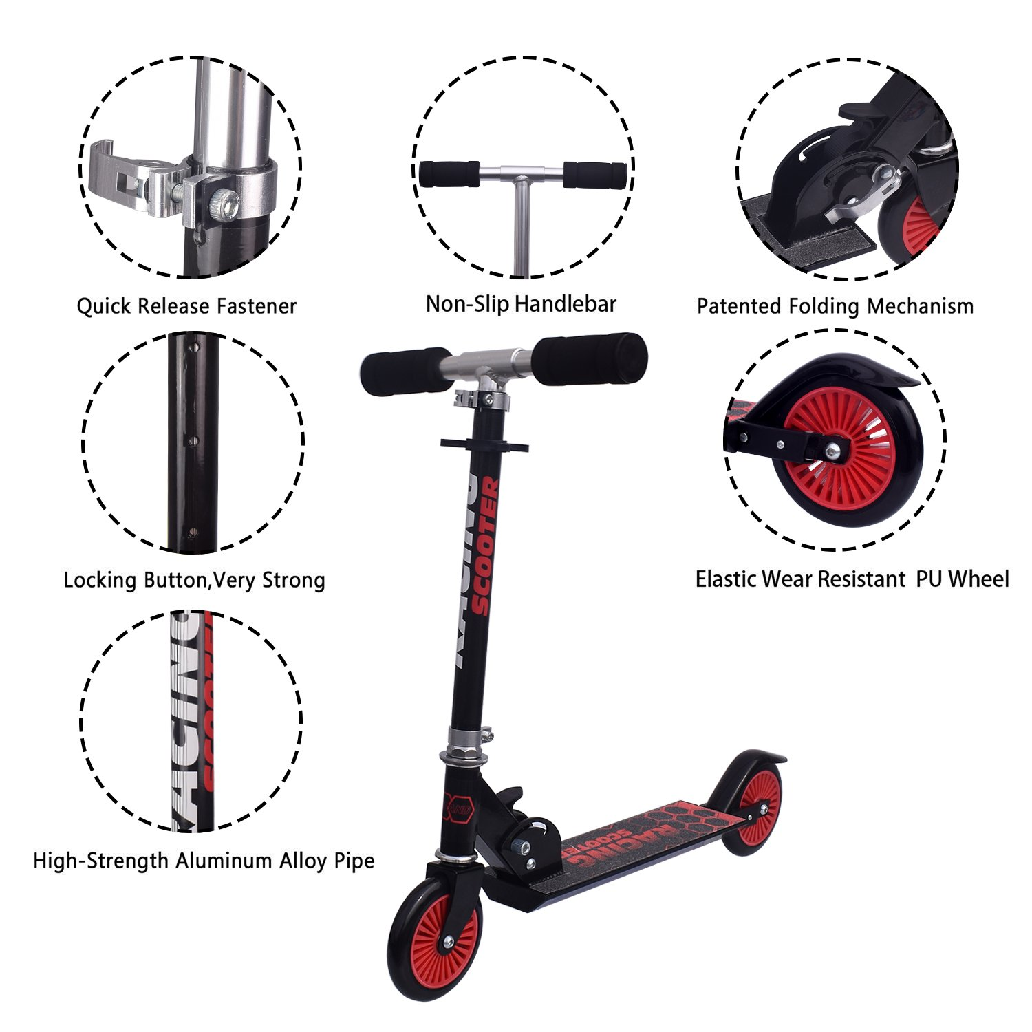 Amazon.com: Kids Kick Scooter, flantor manubrio de altura ...