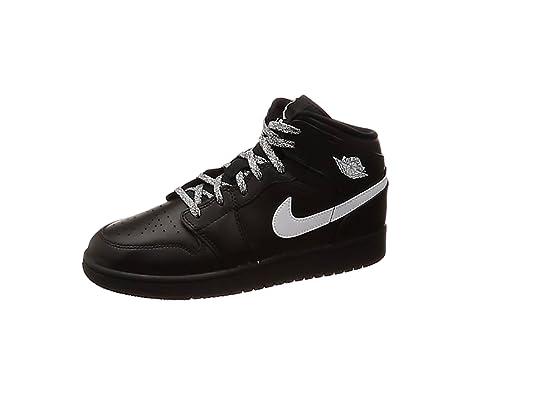 best authentic 04332 0d09e Nike Air Jordan 1 Mid (GS), Scarpe da Basket Bambino, Nero White