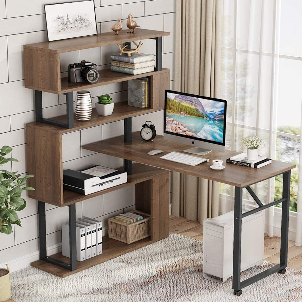 "84/"" L-Shaped Rotating Corner Computer Desk Office Workstation PC Table w// Shlef"