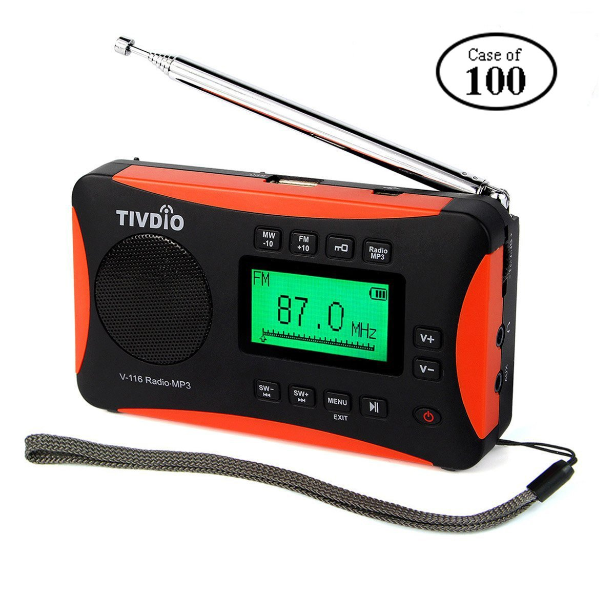 Case of 100,TIVDIO V-116 Portable Shortwave Radio with AM FM Transistor  Support Micro-SD Card AUX Input MP3 Player Speaker Alarm Clock Sleep