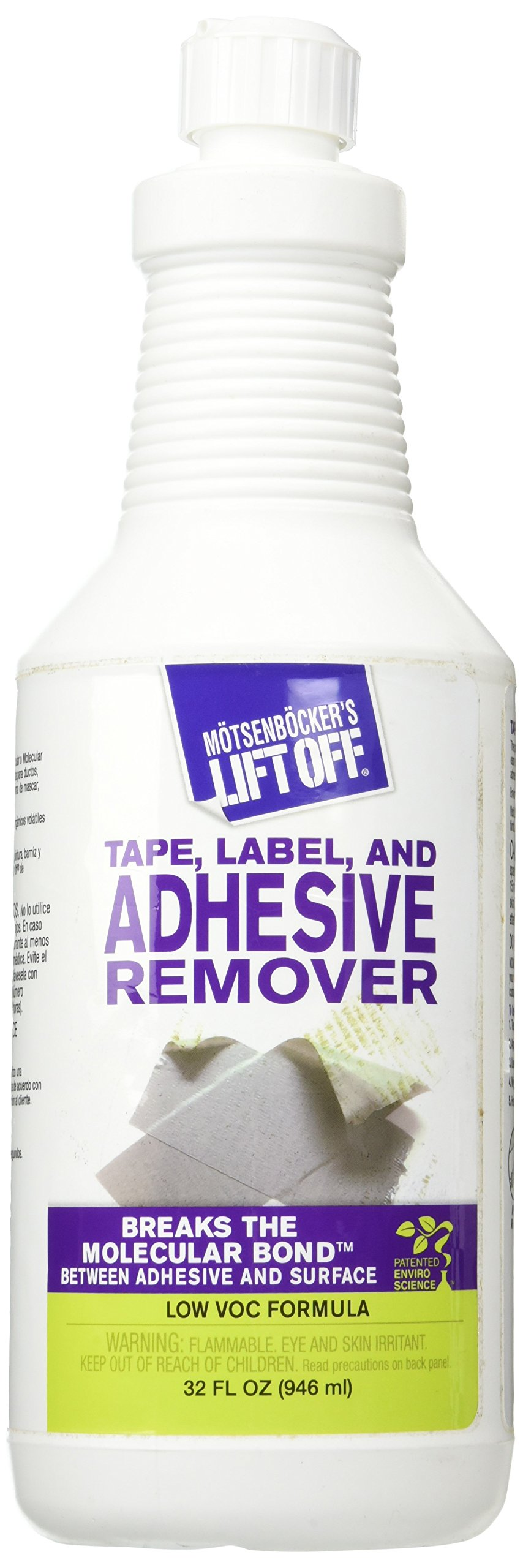 MOTSENBOCKER LIFT-OFF 40703 Tape, Label, and Adhesive Remover 32-Ounce Bottle-Pack of 1, Fluid
