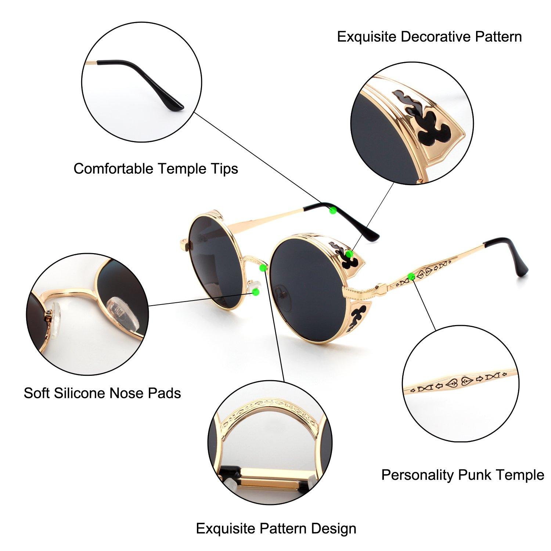 GQUEEN Retro Round Steampunk Polarized Sunglasses MTS2