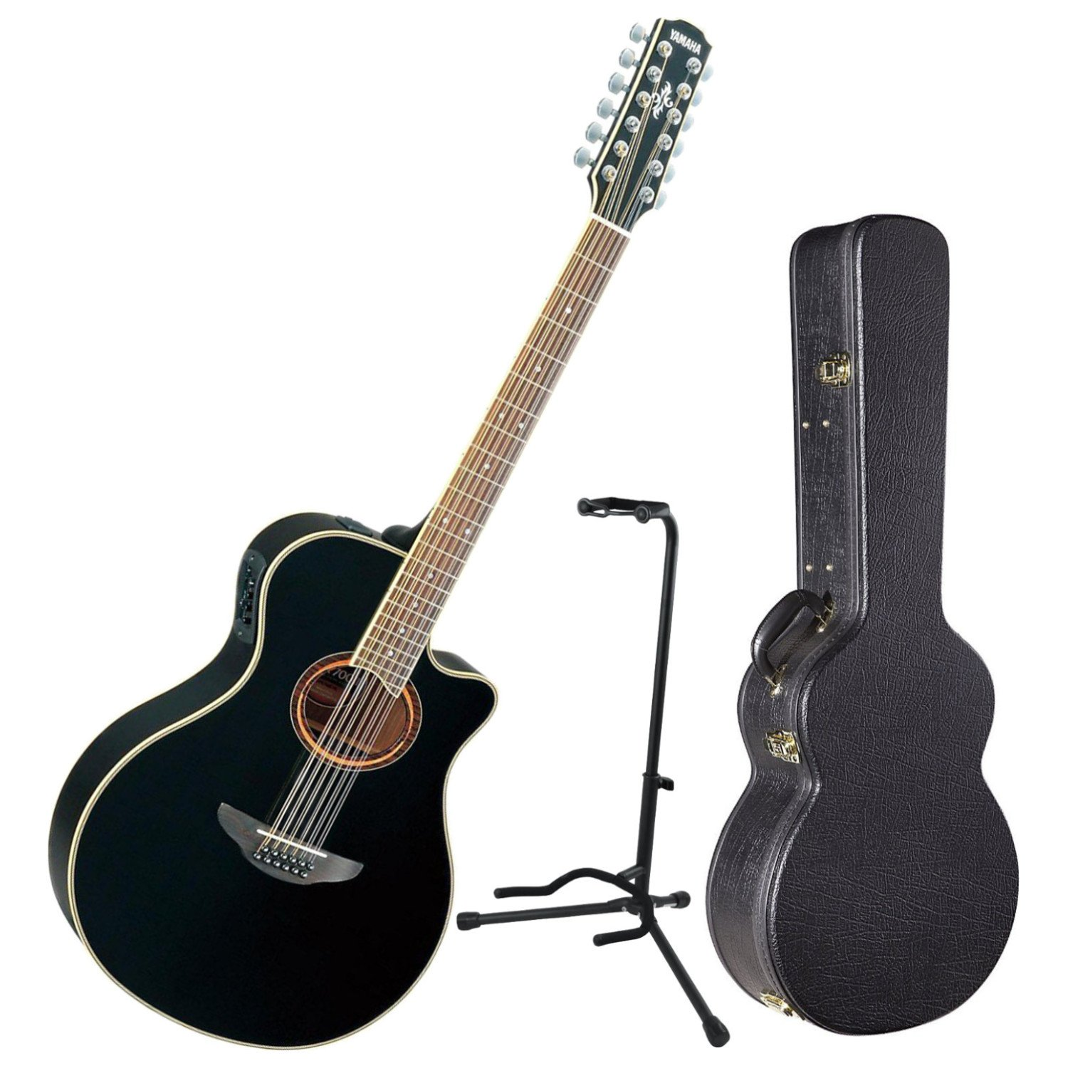 Amazon.com: Yamaha APX700II 12 String Acoustic Electric Thinline Guitar Black w/ Hard Case and Stand: Musical Instruments