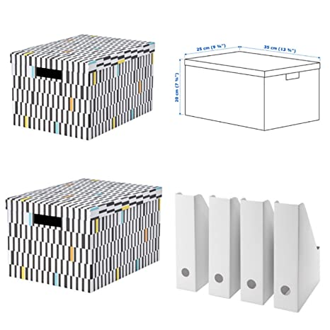IKEA Fluns 4 Pack white Magazine File Holder Filing Storage Boxes Home Office