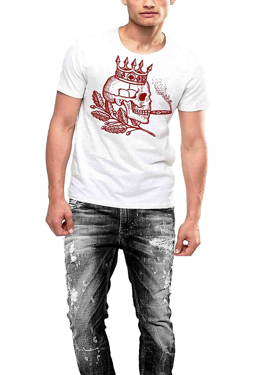 Skull Tattoo T-shirt Wearing A Crown And Smoking A Cigar