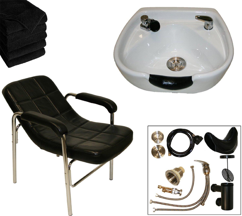 LCL Beauty Shampoo Package with Comfort-Curve Sling Back Shampoo Chair & Heart Shaped White Ceramic Shampoo Bowl – FREE 6 Black Absorbent Salon Quality Towels
