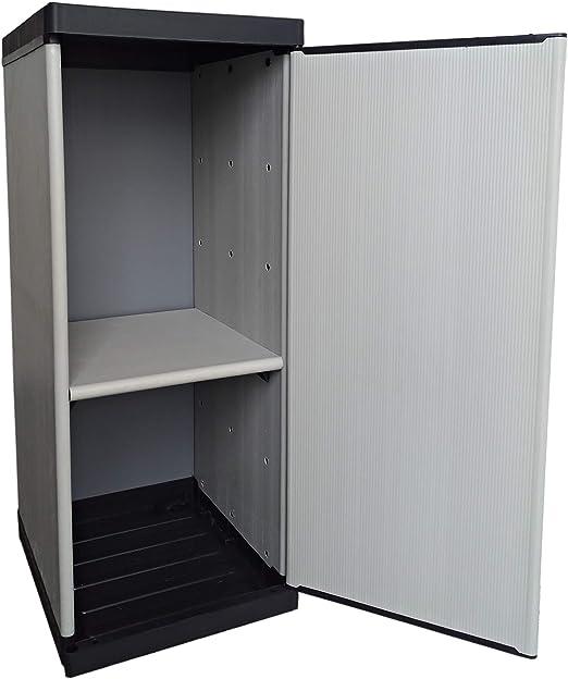 Buyly - Armario botellero para interior y exterior de 1 puerta con estantes regulables en altura, 34 x 39, 5 x 85 cm: Amazon.es: Jardín