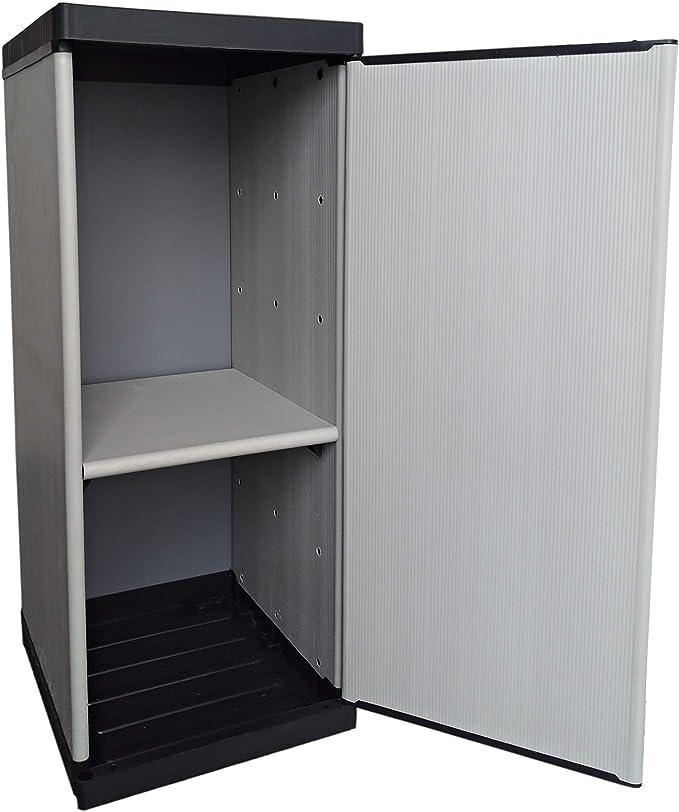 34 x 39,5 x 85 cm Armario de Resina de 1 Puerta con Estante Ajustable Gris Negro Interior//Exterior Adventa