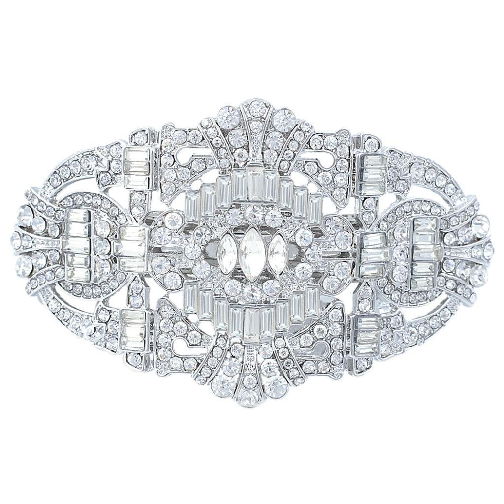 EVER FAITH 1920's Style Bride Hair Barrette Art Deco Clear Austrian Crystal Silver-Tone by EVER FAITH