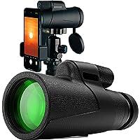 Qisebin Monocular Telescope,12X50 High Power HD Monocular with Smartphone Holder Tripod Waterproof Night Vision and…