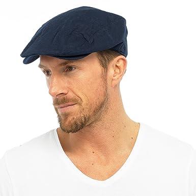 Mens Cotton Linen Fabric Flat Cap Hat Lined Summer Sun Peak Navy Stone M L  L XL  Amazon.co.uk  Clothing 3a653c9ebfc