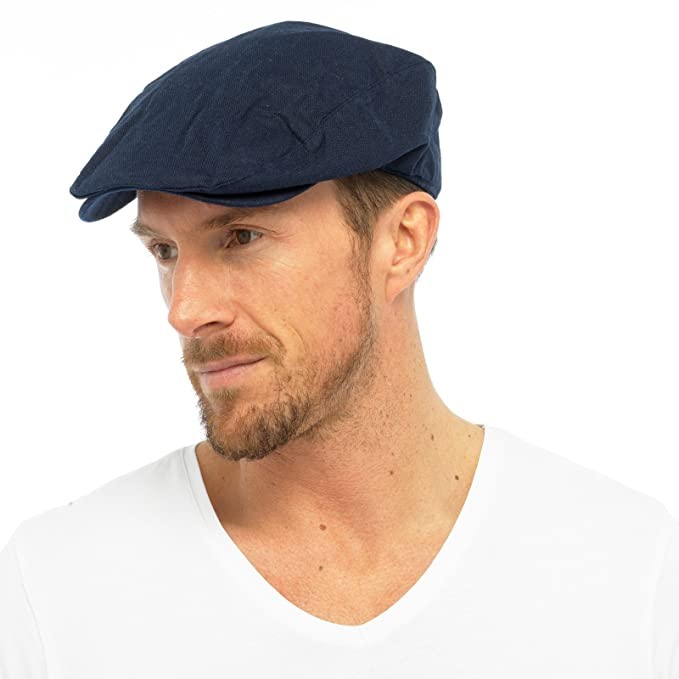 307dc3ba553 Mens Cotton Linen Fabric Flat Cap Hat Lined Summer Sun Peak Navy Stone M L  L XL  Amazon.co.uk  Clothing