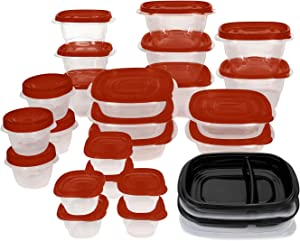 Rubbermaid TakeAlongs Meal Prep 50-Piece Food Storage Containers, Red