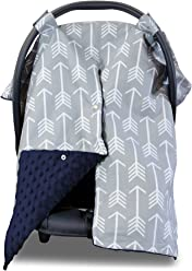 2 in 1 Carseat Canopy and Nursing Cover Up with Peekaboo Opening   Large Infant Car Seat Canopy for Boy or Girl   Best Baby Shower Gift for Breastfeeding Moms   Arrow Pattern with Navy Blue Minky