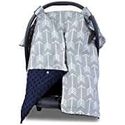2 in 1 Carseat Canopy and Nursing Cover Up with Peekaboo Opening | Large Infant Car Seat Canopy for Boy or Girl | Best Baby Shower Gift for Breastfeeding Moms | Arrow Pattern with Navy Blue Minky