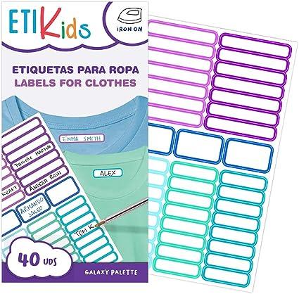 ETIKIDS 40 Etiquetas, de colores, para ropa personalizables para ...