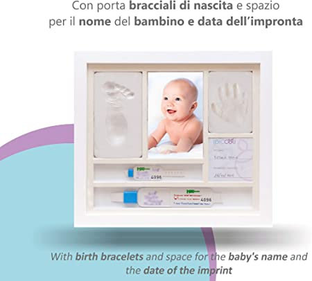 iPiccoli - Marco para huellas infantiles y recién nacidos, regalo de bautizo y nacimiento de bebé, kit completo con arcilla, portapulseras de nacimiento