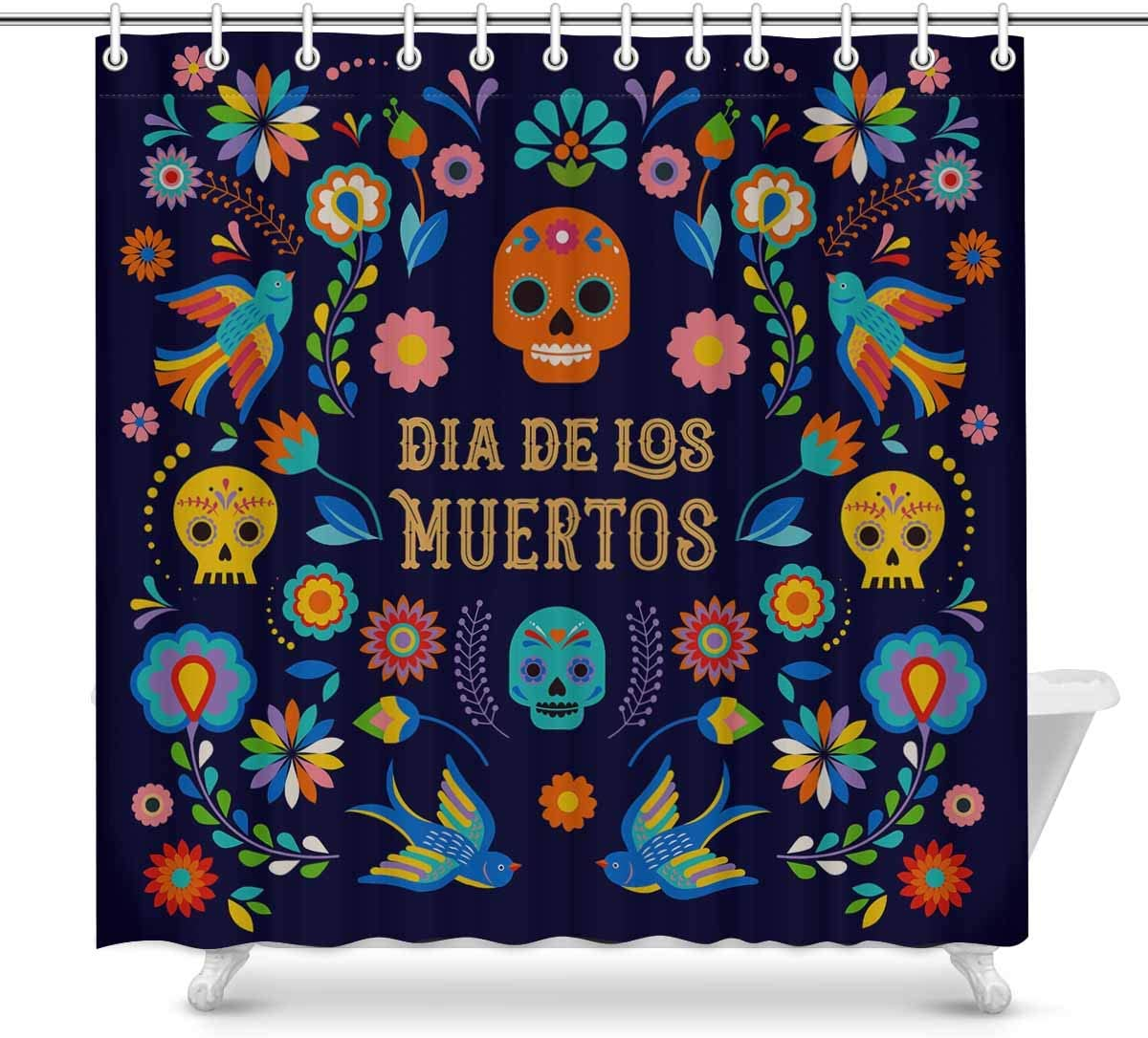 Interestprint Novelty Shower Curtain Bathroom Sets Day Of The Dead Dia De Los Moertos Skull Funny Fabric Home Bath Decor 70 X 69 Inches Home Kitchen