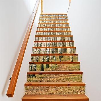 Plyy 3d Abedul Blanco Bosque Escaleras Pegatinas Diy Restaurado