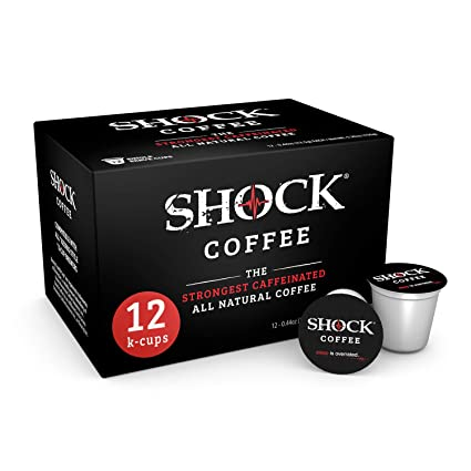 Shock Coffee K cup. Up to 50% more Caffeine than Regular Coffee. Extra Kick In Every Sip. Its like having that second cup without having that second ...