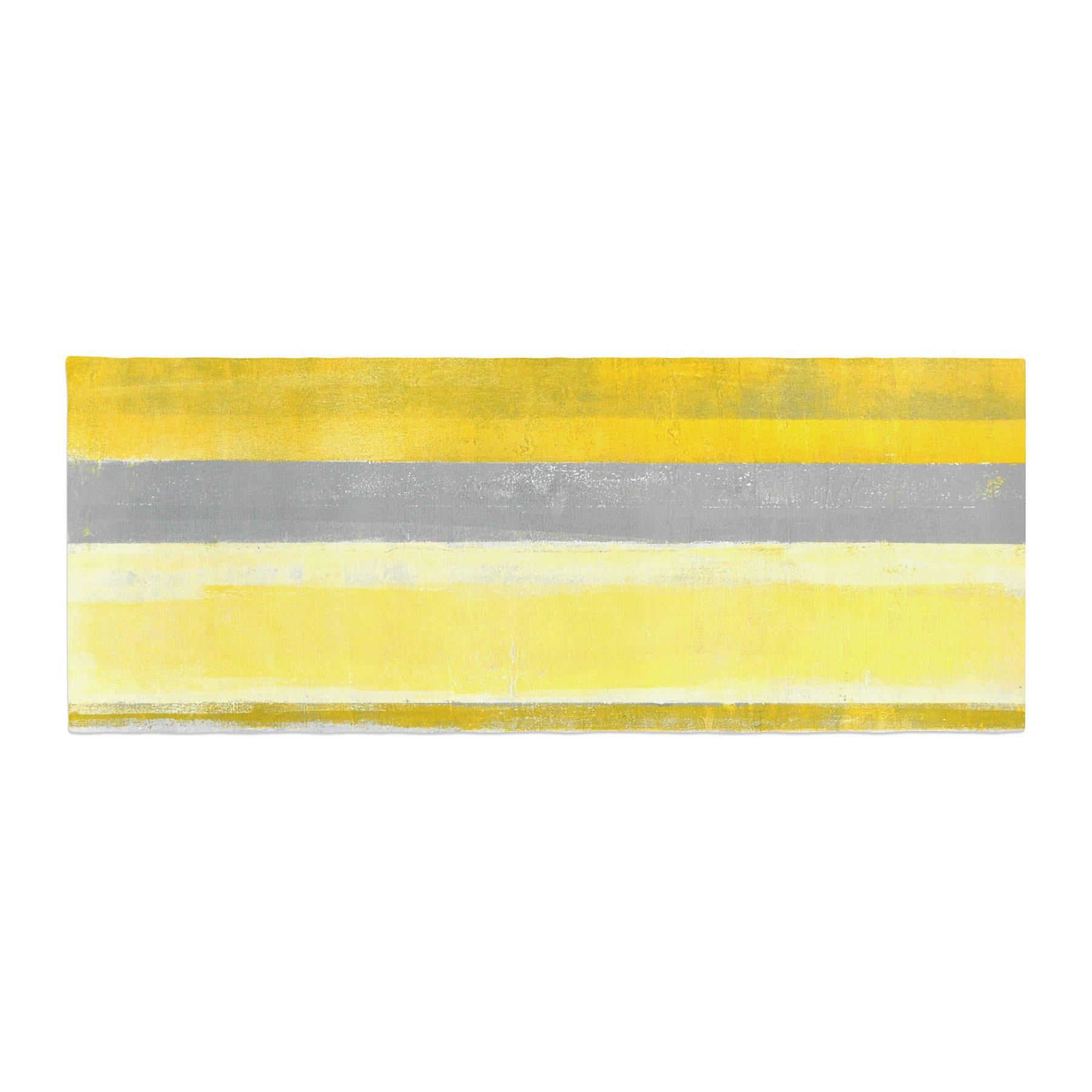 Kess InHouse CarolLynn Tice Lemon Yellow Gray Bed Runner, 34'' x 86''