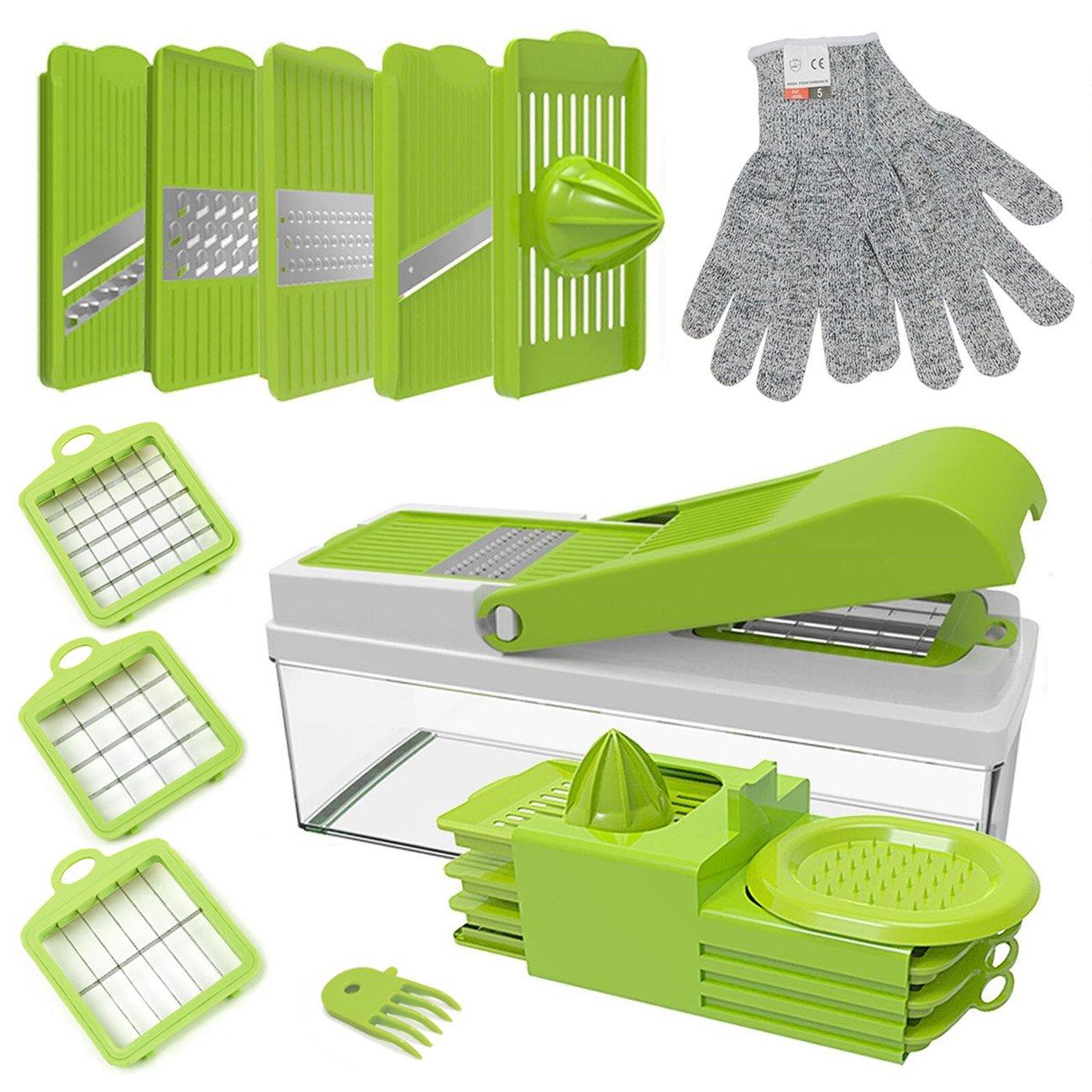 ABBTO Vegetable Chopper Dicer, Julienne Slicer, Mandoline Slicer, Grater, 8-in-1 Multi Cutter with Container, Lemon Juice Squeezer, FREE Cut Resistant Gloves (Adjustable slicer)