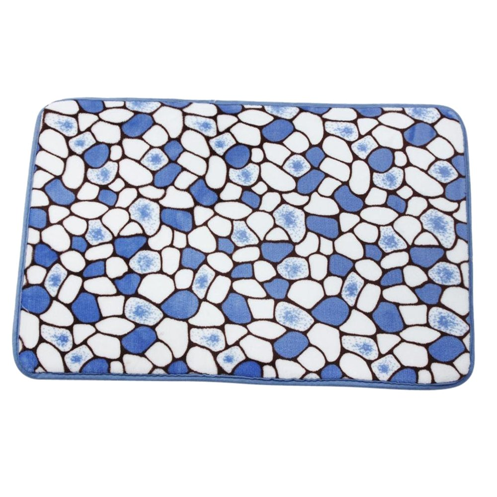 R TOOGOO Memory Foam Mat Non-slip shower bath mats Floor Carpet Blue