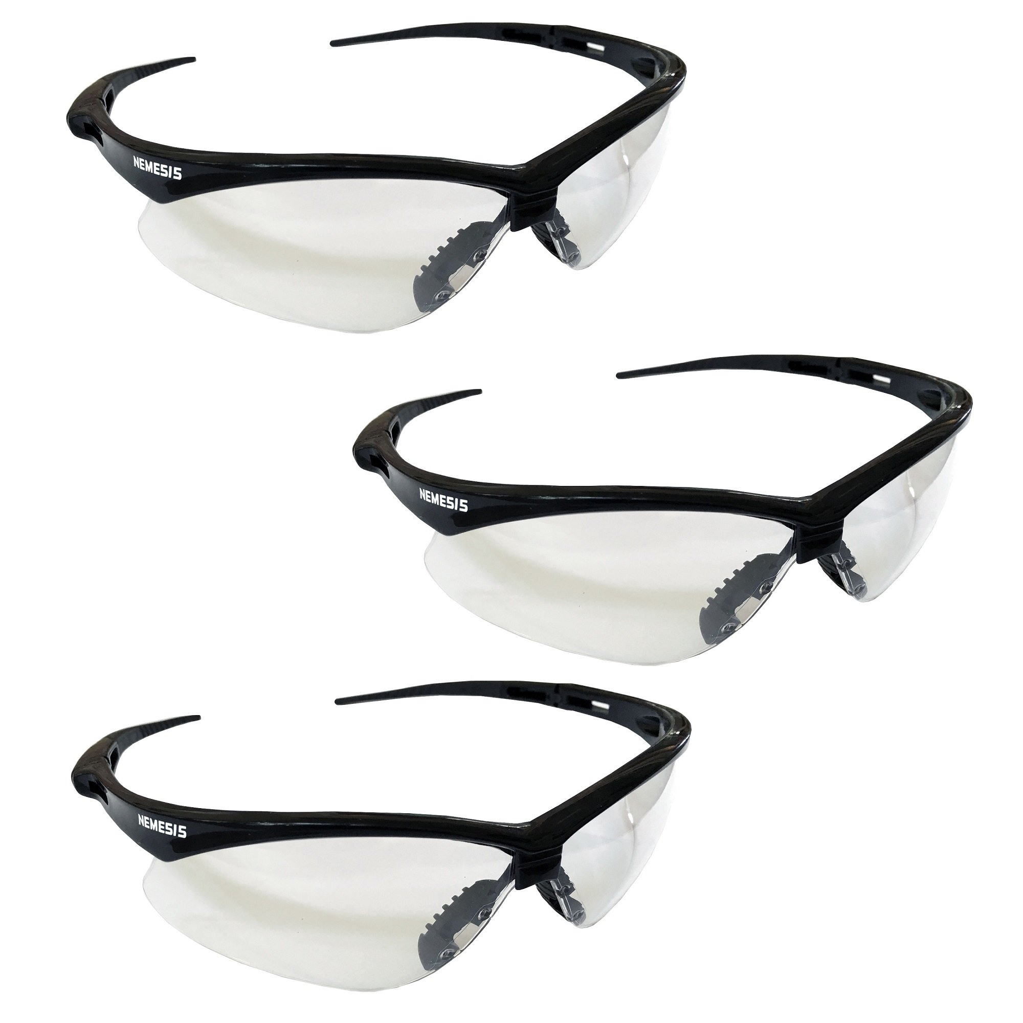 3 Pair Jackson Nemesis 3000354 Safety Glasses Black Frame Clear Lens Kimberly Clark 25676