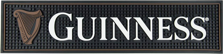Guinness Gaelic Label Bar Mat - Non Slip Black PVC Rubber Drip Tray (White)