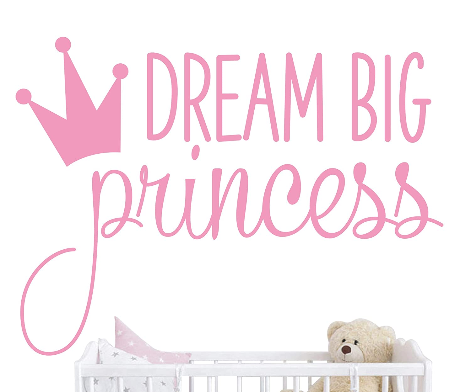 JURUOXIN Dream Big Princess with Crown Wall Decal Vinyl Sticker for Kids Baby Girls Bedroom Decoration Nursery Home Decor Mural Design YMX18 (Soft Pink)