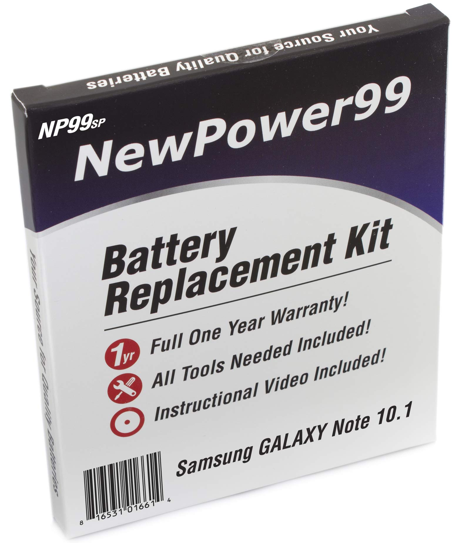 Battery Kit with Tools, Video and Battery for Samsung Galaxy Note 10.1 GT-N8000, GT-N8010, GT-N8013, GT-N8020 from NewPower99