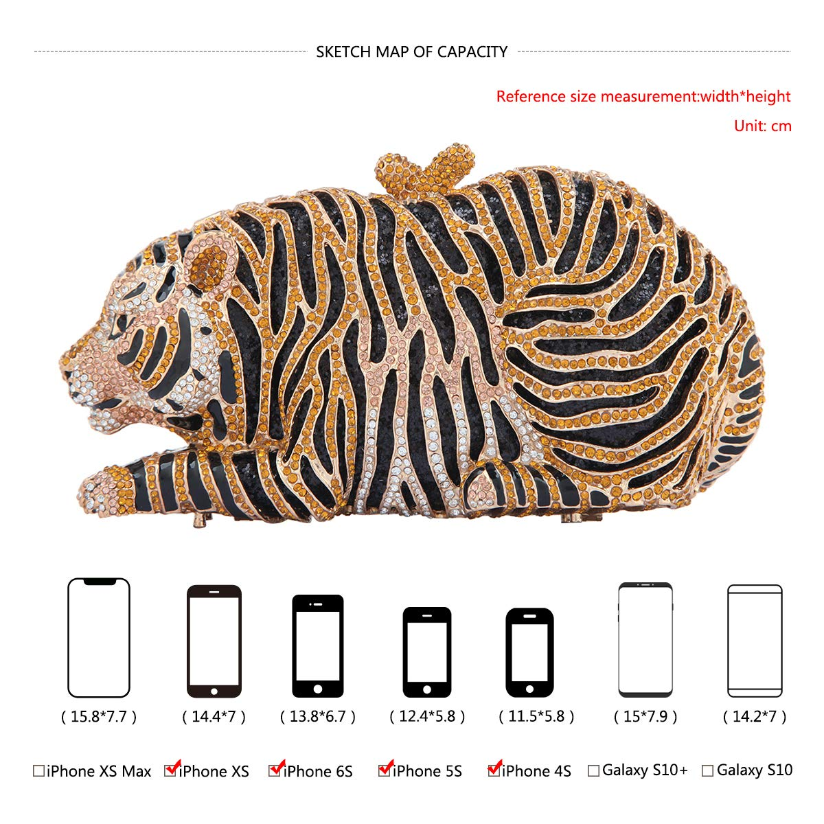 Amazon.com: fawziya Big Tiger embrague cartera Bling ...