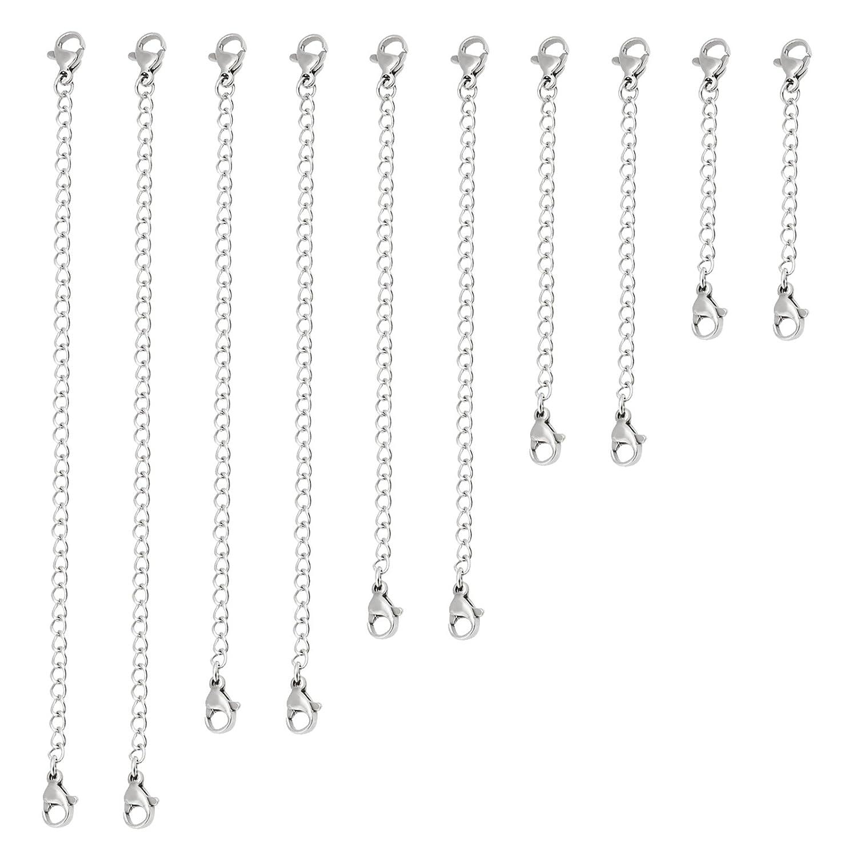 Naler Extender Argent Collier Chaîne pour Bracelet Bijoux en Acier 2-6 pouces 10 PCS 3769074031