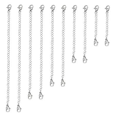 Naler 10 Extensor de Cadena Extensor de Acero Inoxidable Broche de Langosta para Fabricación de Joyas Collar Pulsera (2-6 pulgadas)