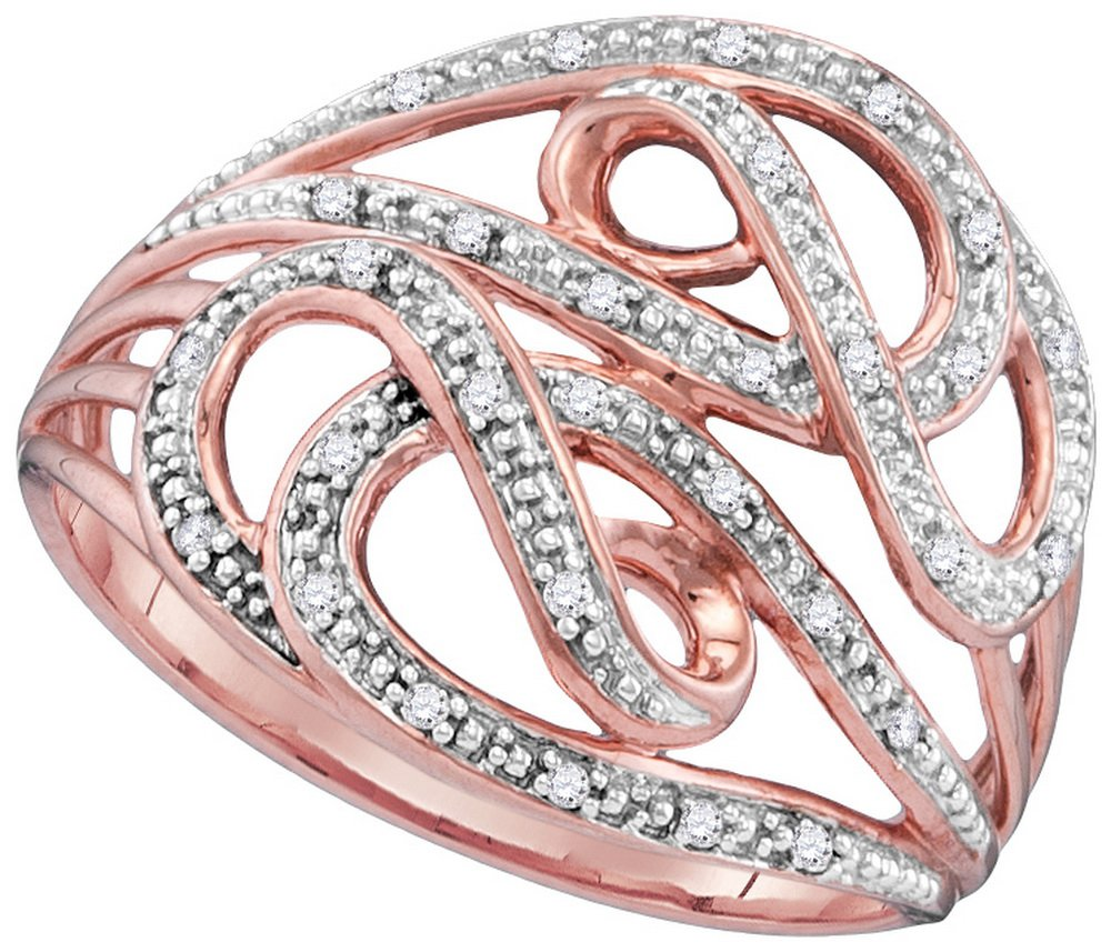 Size 11 - 10k Rose Gold Round Diamond Woven Cockail Ring (1/10 Cttw)