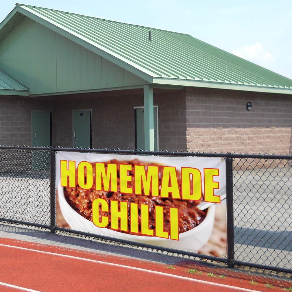 Multiple Sizes Available Vinyl Banner Sign Homemade Chili Retail Spicy Outdoor Marketing Advertising red 6 Grommets 32inx80in Set of 2
