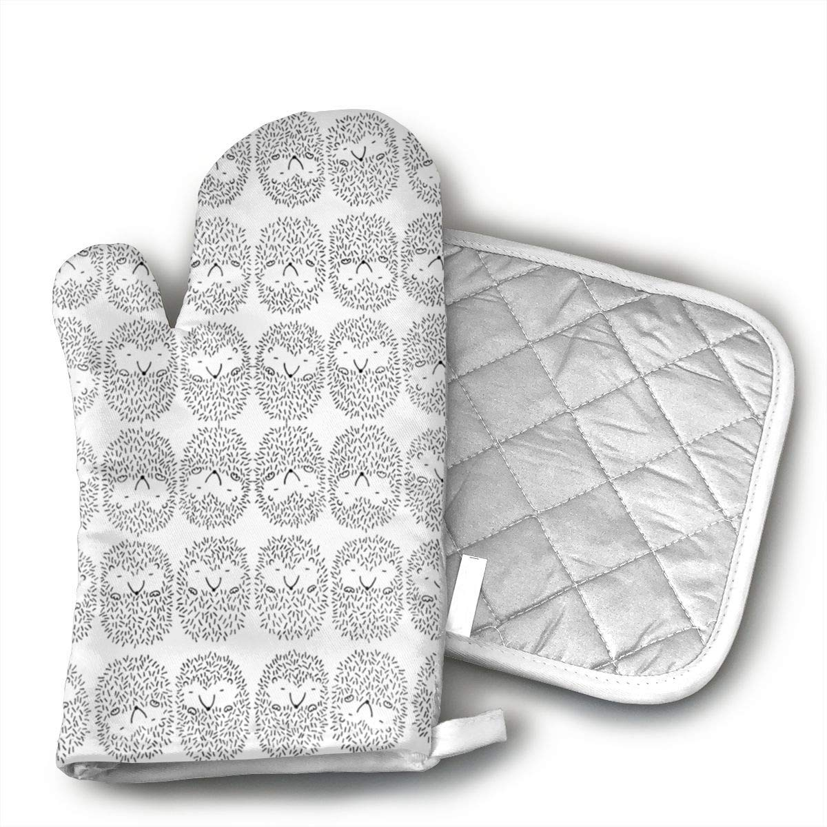 Wiqo9 Sleepy Hedgehogs Oven Mitts and Pot Holders Kitchen Mitten Cooking Gloves,Cooking, Baking, BBQ.
